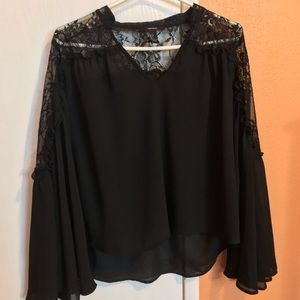 Black Bell Sleeve Top with Lace